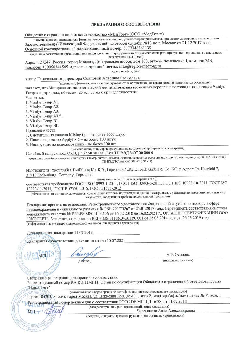 Декларация о соответсвии Visalys