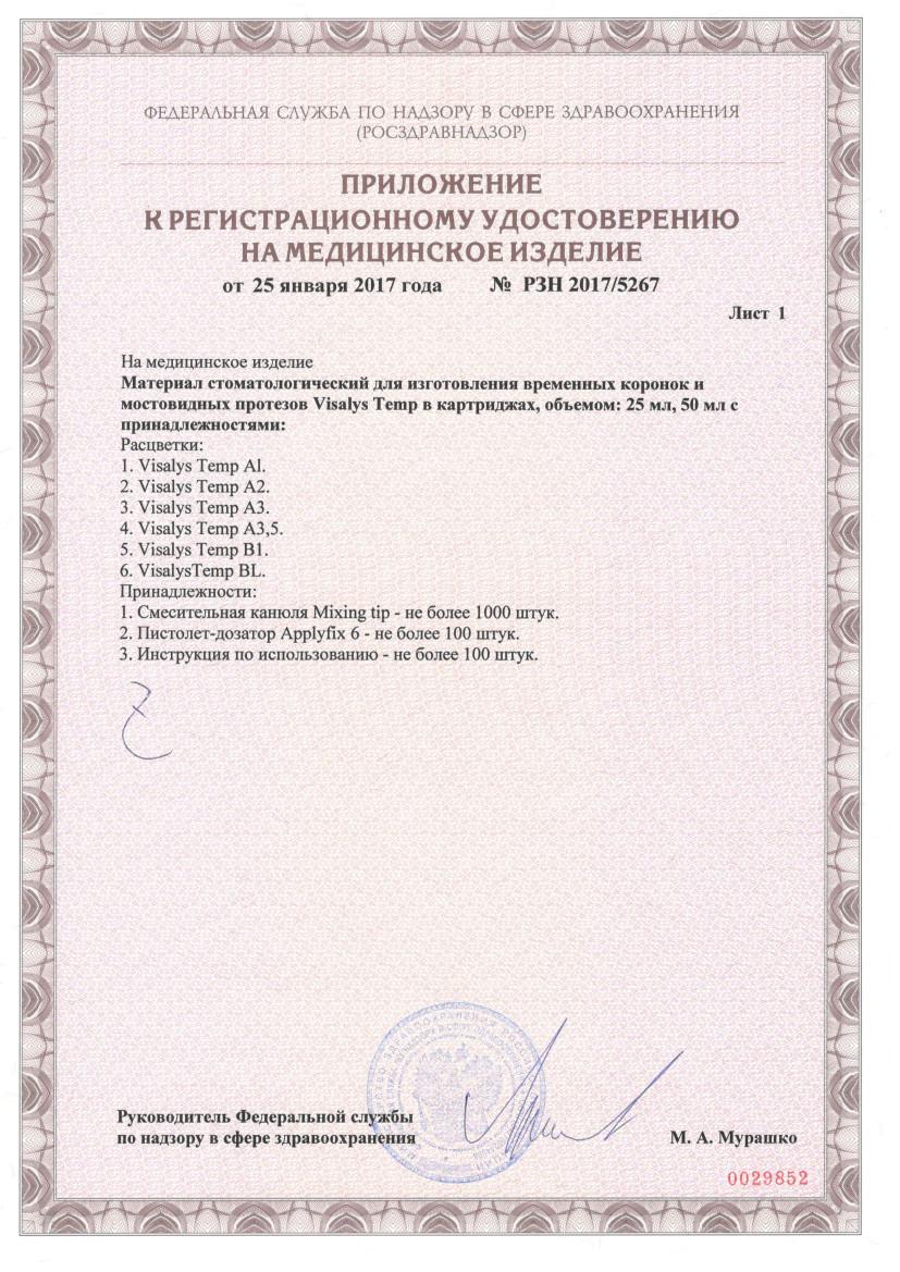 Регистрационное удостоверение на Visalys Temp